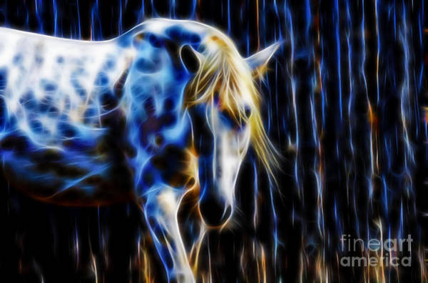 Digital Art - White Horse Fractal by Tracey Everington