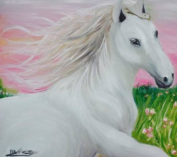 Wall Art - Painting - White Horse by Hai Soe