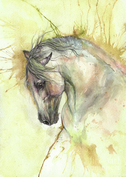 Andalusian Stallion Wall Art - Painting - White Horse On Golden Background 2017 06 02 by Angel Ciesniarska