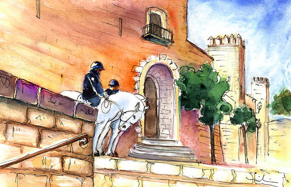 Painting - White Horses By The Cathedral In Palma De Mallorca 02 by Miki De Goodaboom