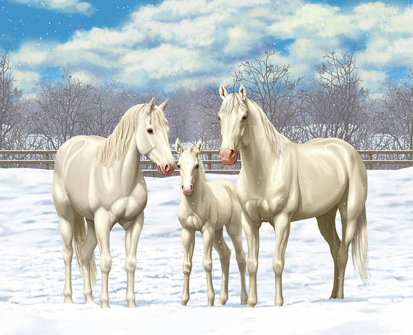 Wall Art - Painting - White Horses In Winter Pasture by Crista Forest