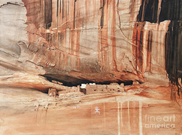 Navaho Wall Art - Painting - White House At Canyon De Chelly by James Stanley