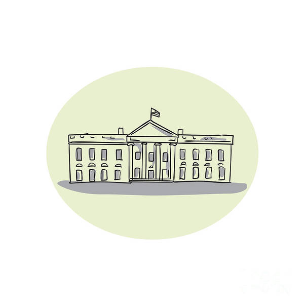 Wall Art - Digital Art - White House Building Oval Drawing by Aloysius Patrimonio
