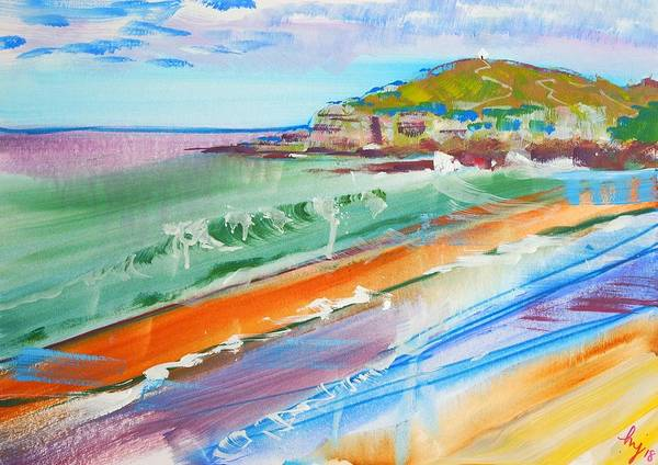 Mixed Media - White Hut On Cliff Top At Fistral Beach by Mike Jory