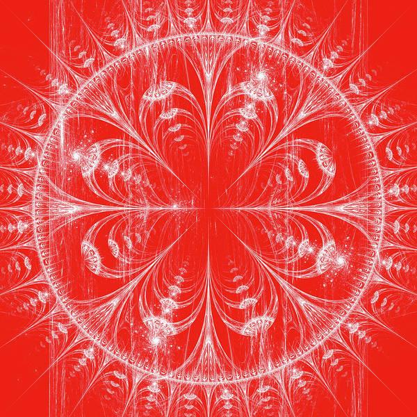 Crochet Digital Art - White Illustration Of Mandala Design On Red by Oksana Ariskina
