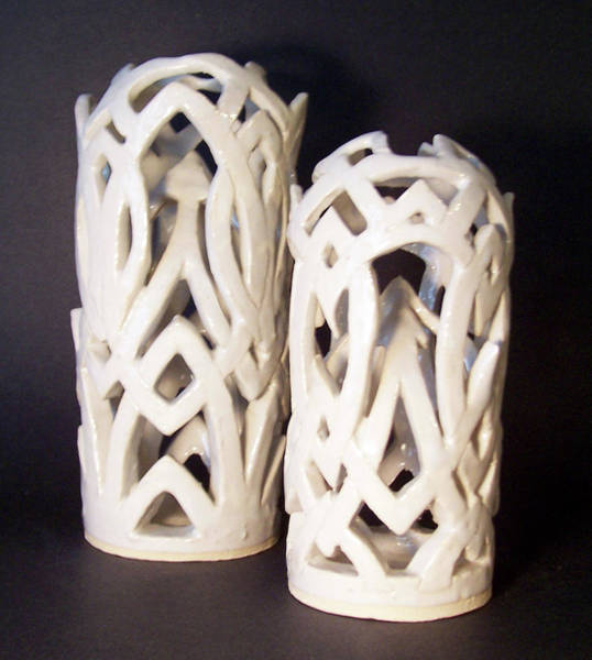 Stoneware Wall Art - Sculpture - White Interlaced Sculptures by Carolyn Coffey Wallace