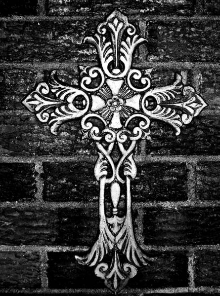 Photograph - White Iron Cross Bw by Angelina Tamez