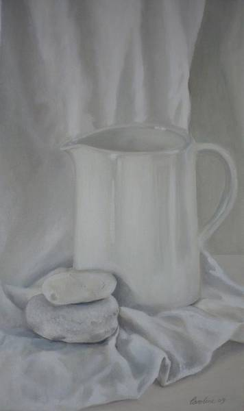 Painting - White Jug And Pebbles by Caroline Philp