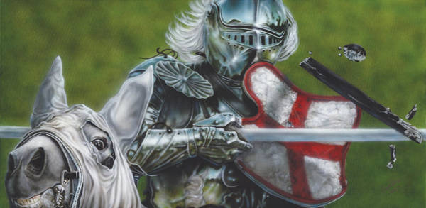 Helm Painting - White Knight by Wayne Pruse