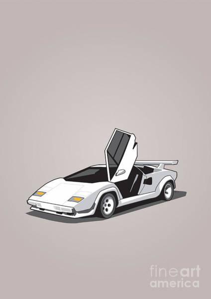 Engine Mixed Media - White Lamborghini Countach by Monkey Crisis On Mars