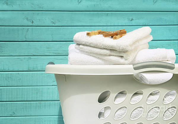 Photograph - White Laundry Basket With Towels And Pins by Sandra Cunningham