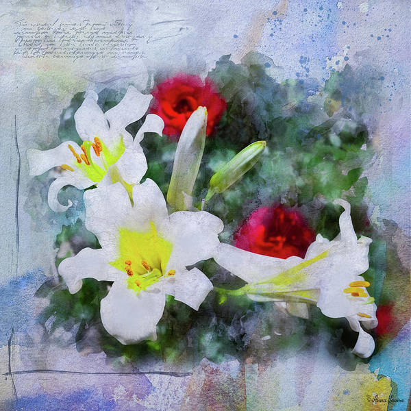Photograph - White Lilies And Red Roses by Anna Louise