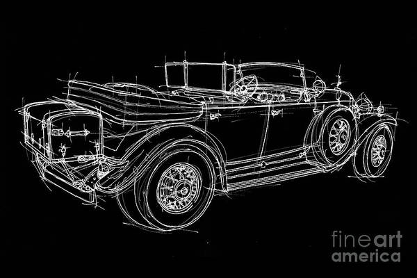 Perspective Digital Art - White Line Black Background Classic Car Original Handmade Drawing by Drawspots Illustrations
