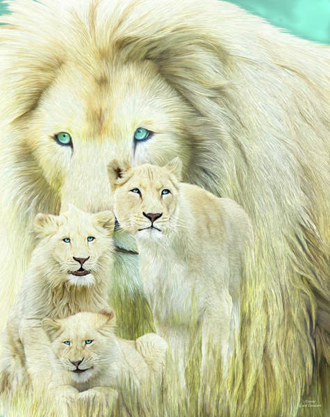 White Cat Mixed Media - White Lion Family - Forever by Carol Cavalaris