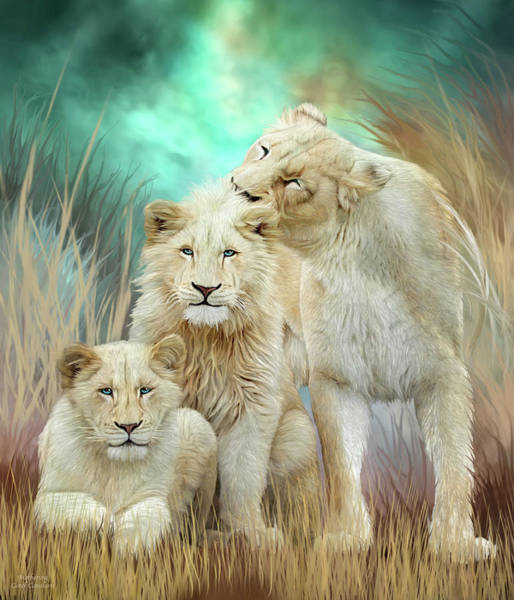 White Cat Mixed Media - White Lion Family - Mothering by Carol Cavalaris