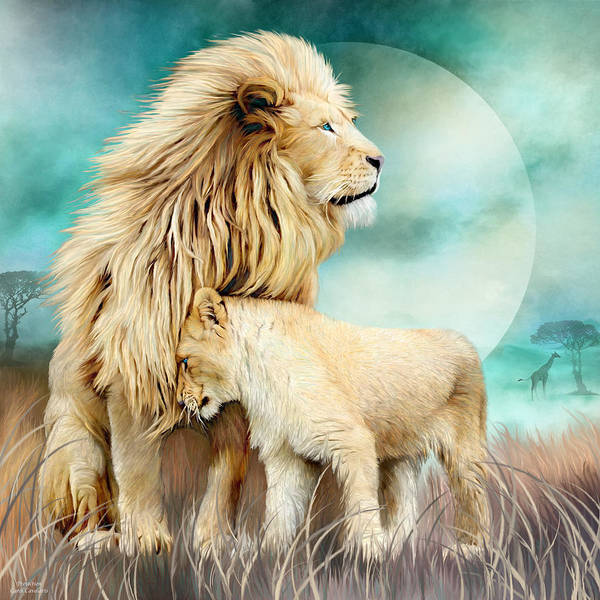 White Cat Mixed Media - White Lion Family - Protection by Carol Cavalaris