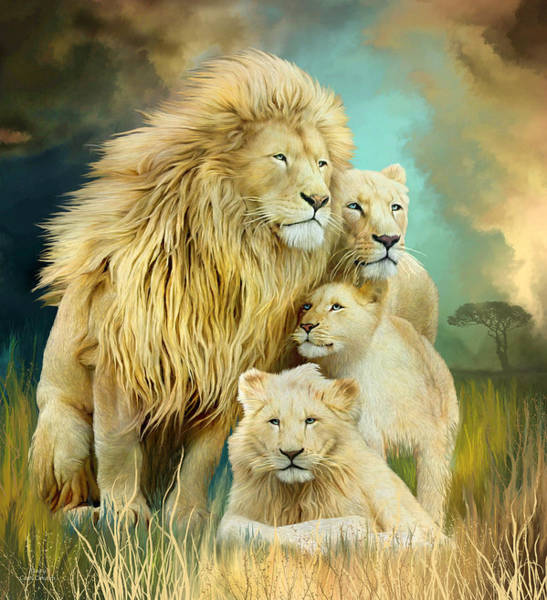 White Cat Mixed Media - White Lion Family - Unity by Carol Cavalaris