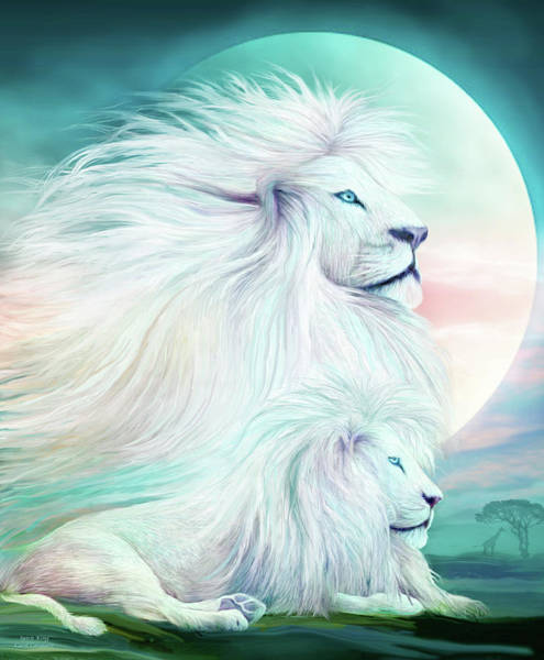 White Cat Mixed Media - White Lion - Spirit King by Carol Cavalaris