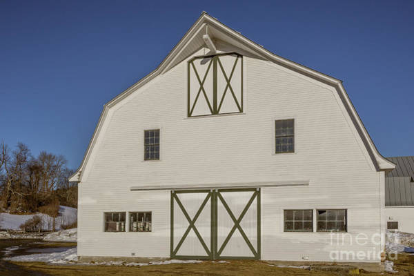 Photograph - White New England Horse Barn Vermont by Edward Fielding