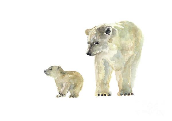 Wall Art - Painting - Polar Bear Art Print, White Nursery Room Decor, Brown Yellow Animal Painting, Bears Wall Decor by Joanna Szmerdt