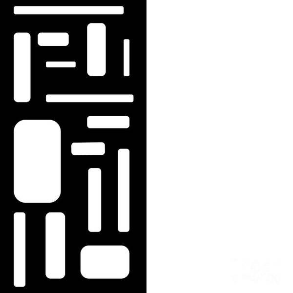 Digital Art - White On Black Pop Art Rectangular Design by Barefoot Bodeez Art