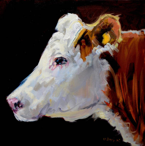 Wall Art - Painting - White On Brown Cow by Diane Whitehead