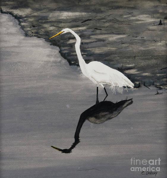 White On Gray Art Print by Carla Dabney