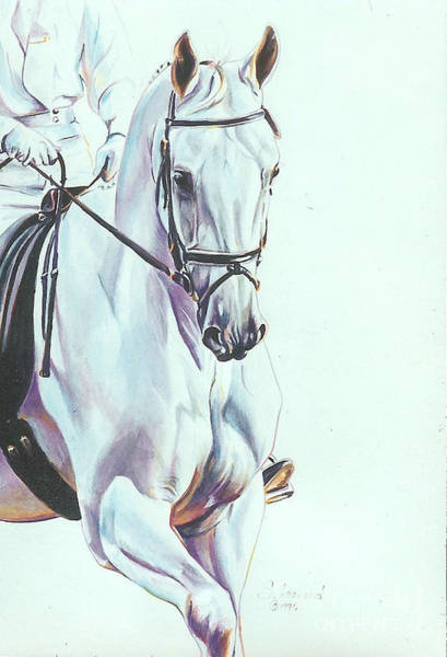Dressage Painting - White On White by Suzanne Leonard