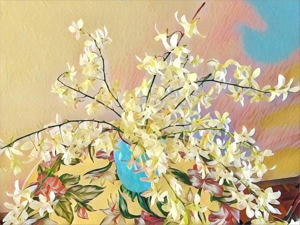 White Orchid Bouquet Pink/blue Art Print