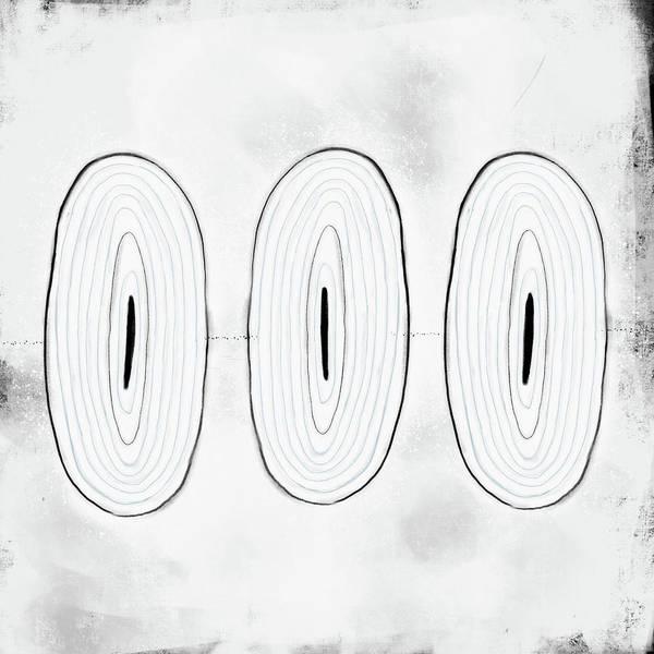 Oval Digital Art - White Ovals Trio by Kathryn Humphrey