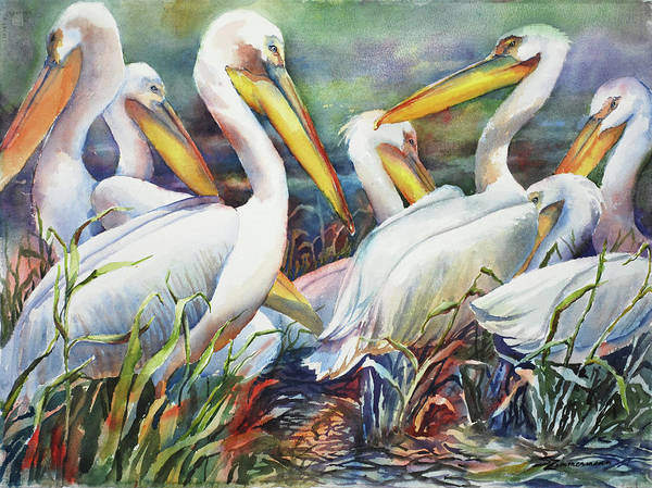 Wall Art - Painting - White Pelicans by Sue Zimmermann