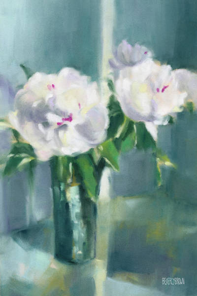 Framed Painting - White Peonies by Beverly Brown