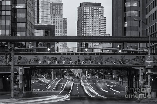 Photograph - White Plains Traffic Light Trails Iv by Clarence Holmes