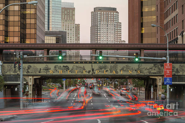 Photograph - White Plains Traffic Light Trails I by Clarence Holmes