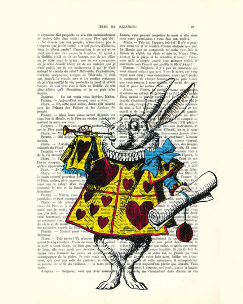Wall Art - Digital Art - White Rabbit Blows His Trumpet Three Times Alice In Wondreland by Madame Memento
