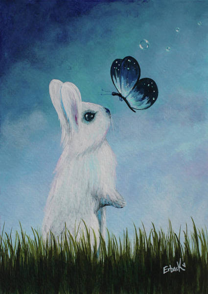 Wall Art - Painting - White Rabbit With Butterfly Paintings by Erback Art