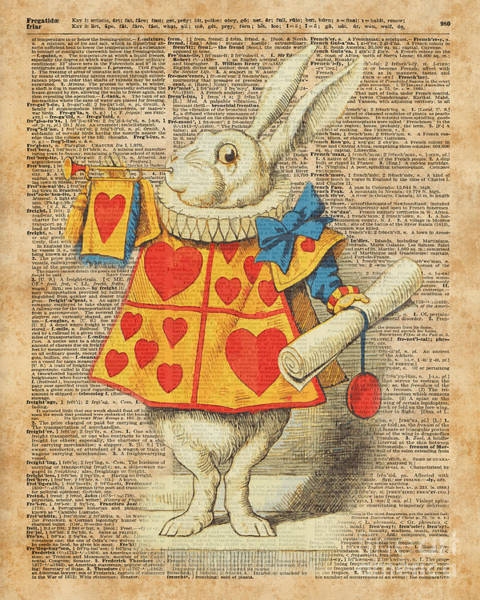 Wall Art - Digital Art - White Rabbit With Trumpet Alice In Wonderland Vintage Dictionary Artwork by Anna W