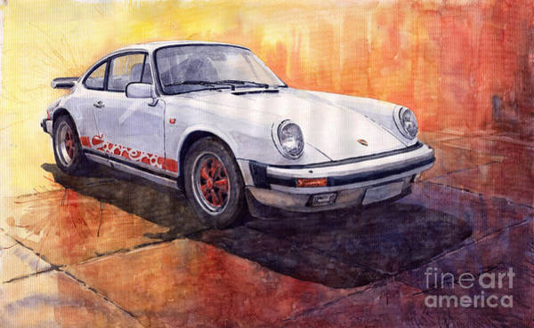 Wall Art - Painting - White Red Legend Porsche 911 Carrera by Yuriy Shevchuk