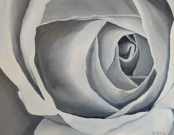 Art Print featuring the painting White Rose by Kevin Daly
