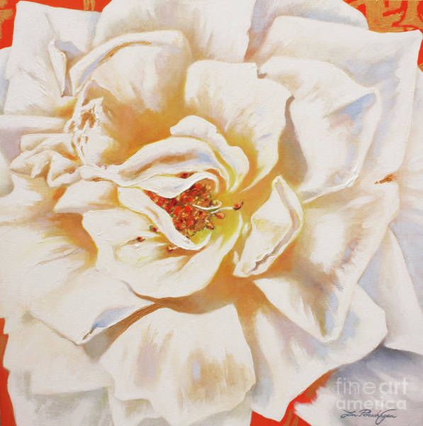 Norsk Painting - White Rose by Lin Petershagen