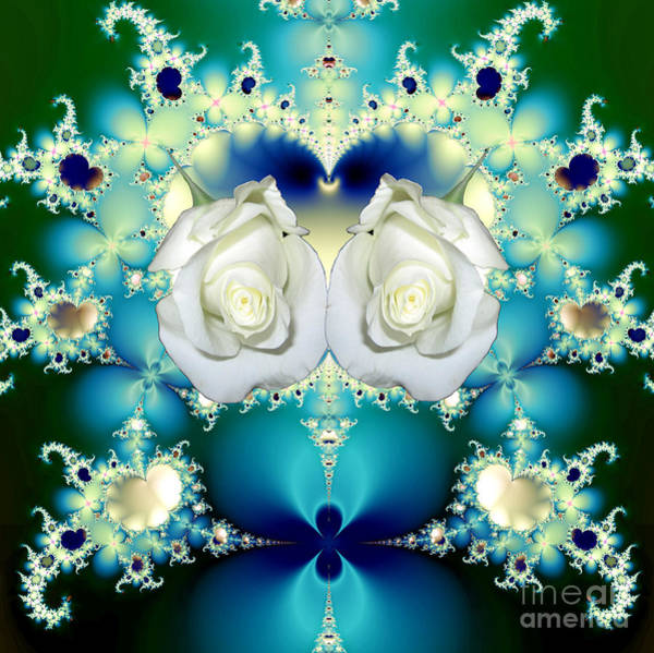 Mixed Media - White Roses  And Blue Satin Bouquet Fractal Abstract by Rose Santuci-Sofranko