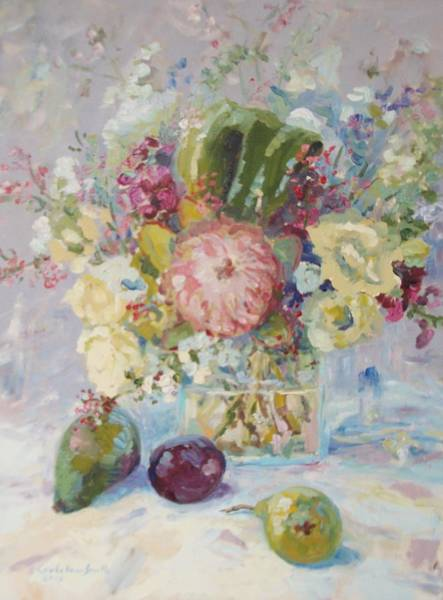 Snapdragons Painting - White Roses And Protea With Fruit by Elinor Fletcher