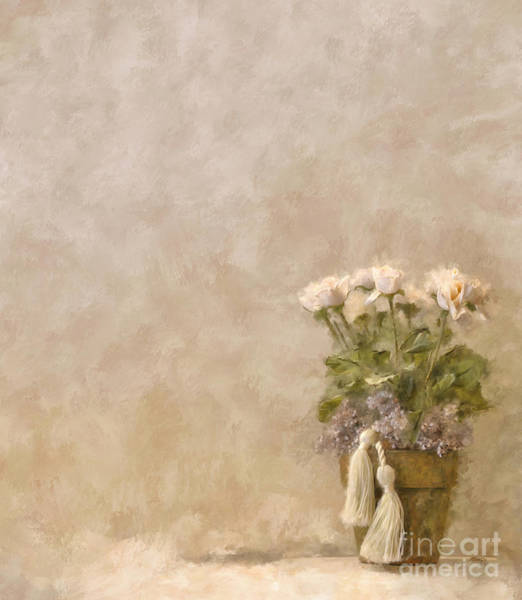 Purple Rose Digital Art - White Roses In Old Clay Pot by Lois Bryan
