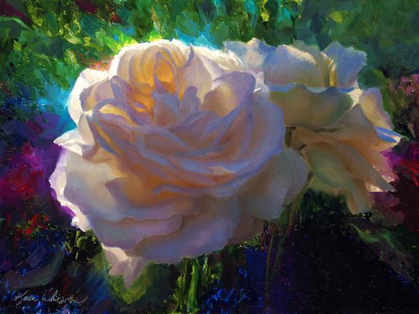 Wall Art - Painting - White Roses In The Garden - Backlit Flowers - Summer Rose by Karen Whitworth
