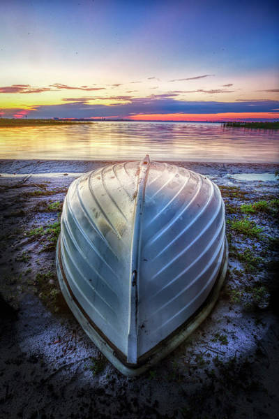Photograph - White Rowboat Waiting For Sunrise  by Debra and Dave Vanderlaan