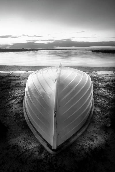 Photograph - White Rowboat Waiting For Sunrise  In Black And White by Debra and Dave Vanderlaan