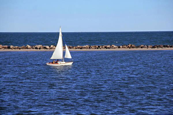 Photograph - White Sailboat by Angela Murdock