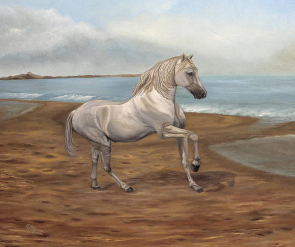 Painting - White Spanish Horse by Angeles M Pomata