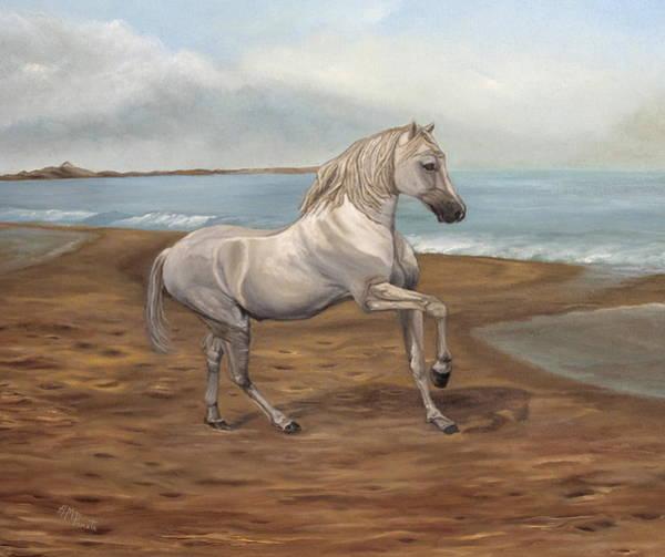 Painting - White Spanish Horse by Angeles M Pomata