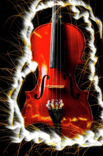 Frets Photograph - White Sparks And Violin by Garry Gay